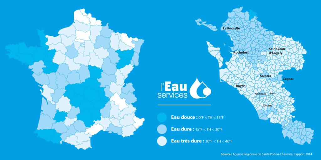 Carte de la dureté de l'eau en Charente-Maritime