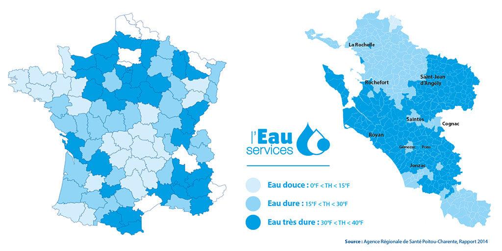 Carte de la dureté de l'eau en Charente-Maritime. Plus l'eau est dure, plus elle contient du calcaire.